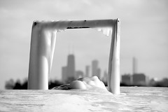 Ice Frame (Andy Marfia) Tags: winter bw snow chicago ice skyline pier iso200 frozen f10 lakemichigan frame framing edgewater lakefront hollywoodbeach 55200mm 1640sec kathyostermanbeach d7100