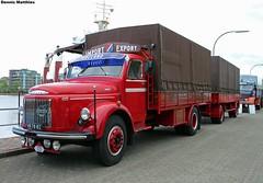 Viking truck (Schwanzus_Longus) Tags: 485 88 black classic condition dump german germany good orange restored service station sweden swedish trailer truck vehicle viking volvo wilhelmshaven n88 l485