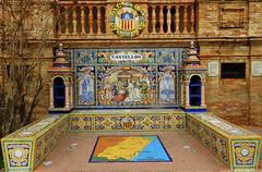 Banco de cermica dedicado a Castelln de la Plana en la Plaza de Espaa de Sevilla (Rafael Gomez - http://micamara.es) Tags: plaza en espaa de la sevilla banco cermica azulejos castelln dedicado provincias plana espaolas