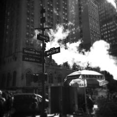 Joe Louis Plaza (street level) Tags: nyc newyorkcity urban blackandwhite building art architecture manhattan steam gothamist joelouisplaza iphoneography