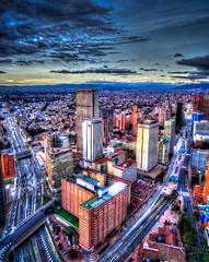 The skyline of Bogota at dusk