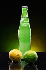 sprite (MDiCola Photography) Tags: reflection green water yellow canon bottle lemon sprite soda lime waterdrops strobe profoto