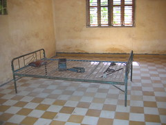 Prison Cell at Tuol Sleng Genocide Museum