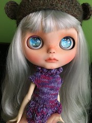 Nora WIP (Chassy Cat) Tags: wip blythe chassycat custom customized silver hair doll chassyknits sweetcrate eye chips