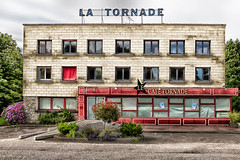 La Tornade (Christophe Rettien) Tags: road red summer white france landscape concrete afternoon exterior cement environmental normandie asphalt residential fr derelict normandy stillness frontview colorimage colourimage ruralphotography drubec