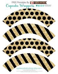 Printables Cupcake Wrappers Gold Glitter & Black (Apple Eye Baby Shop) Tags: papergoods freeprintable freeprintables birthday party packaging diy crafts cricutproject silhouette cupcakewrapper cupcake babyshower wedding bridalshower newyears appleeyebabyshop