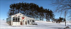 Primrose, Ontario (RichardKz) Tags: ontario winter snow texaco servicestation primrose panorama stitchedpanorama stitched