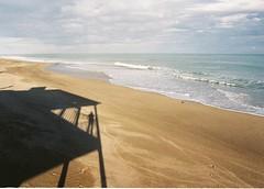 Un pescatore di maree che origlia dalla riva (nonplusultra22) Tags: shadow sea film beach analog 35mm mare ombra fujifilm spiaggia nikonf80 expiredfilm pellicola analogico pellicolascaduta analogicait nikonclubit conceptcollab