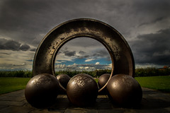sculpture - Cockenzie (tattie62(saying no to blue sky thinking)) Tags: sky sculpture art nature clouds circle scotland shapes spheres superwideangle eastlothian cockenzie