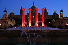 Barcelona by night. Magic fountain & 4 pillars (Andrey Sulitskiy) Tags: spain barcelona