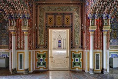 Moorish Rainbow (earthmagnified) Tags: villa palace palazzo castello castle moors moorish architecture building grande arches doorway mosaic tile inlay floor marble stucco carving carved crest design decoration decorative columns hallway abandoned abandonment ue urbex urban exploring explorer exploration vacant empty npu nonplusultra