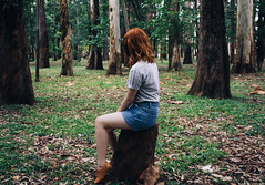 Echoes from the other world turn horizons into endless ever present. (gmacedo_) Tags: girl woods green ginger park ibirapuera parque sopaulo sp so paulo brasil brazil br alone lonely fashion editorial female portrait nature trees tree