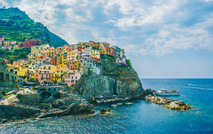 One of the most fabulous coastlines on the planet! Cinque Terre, Italy  (albertpaci) Tags: italy italia sea sun blue sky summer holidays outdoor vacations liguria laspezia manarola cinqueterre destination unesco miracle colors coast boats beach rock ship people smile good sony vsco film europe sunny day goodmorning travel travelphotography architecture houses roofs