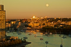 July 30, 2015 (slidefarmer2015) Tags: boat falsecreek moon sunset vancouver vancouverbc vrfc