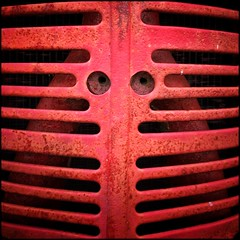 Red - Square 60/100 (Firery Broome) Tags: red rust gritty decay abstract grill tractor metal crusty behindbars 100x2016 100xthe2016edition image60100 everydayobject cellphone phonephoto iphone iphone5s phoneography iphoneography ipad ipaddarkroom apps snapseed colormonochrome square delaware farmmuseum machine machineface artofeverydaythings manmade farmequipment 365