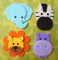 12 JUNGLE ANIMALS. Edible Fondant Cupcake Toppers - Elephant, Zebra, Lion & Hippo (Home Decor and Fashion) Tags: 12 animals cupcake edible elephant fondant jungle lion toppers zebra