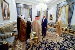 Secretary Kerry Stands With Saudi Arabia Foreign Minister Adel al-Jubeir and Bahrain Foreign Minister Khalid bin Ahmed Al Khalifa Before a Brief Trilateral Meeting in Jeddah (U.S. Department of State) Tags: johnkerry jeddah saudiarabia adelaljubeir khalidbinahmedalkhalifa