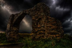 The Entrance. (bainebiker) Tags: arch stonework portal entrance sky stormy hdr canonef24mmf14liiusm devilsbridge dyfed walesuk gothicarch therebeastormabrewin