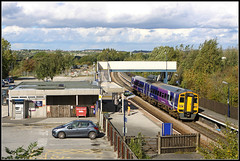 158855 Alfreton (Jason 87030) Tags: aklfreton notts nottingham station railway train passenger tracks car sky clouds purple northern october 2010 scene frame border uk england greatbritain dieselmultipleunit 158855 alfreton work
