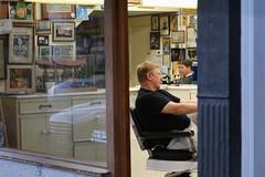 The barbershop opens early. 6:50 AM, Saturday, Orange, California (ponz) Tags: california orangecounty plazasquare scottkelbyworldwidephotowalk scottkelbyworldwidephotowalk2016 barber downtown oldtown oldtownorange orange photowalking lrexportviajf