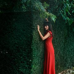 Adlade (VINSO Photographie) Tags: dress rouge bordeaux garden jardin parc woman art french labyrinthe