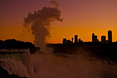 Niagara Falls Sunset- (photo shot from Rainbow Bridge) (showmesavings) Tags: americanfalls horseshoefalls niagarafalls rainbowbridge sunset waterfall