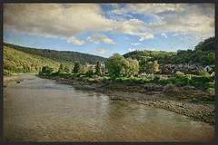 View of River Wye at Tintern (radleyfreak) Tags: tintern monmouthshire riverwye tinternabbey textured vintage aged river bridge view canvas painting texture