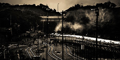 Evening at Old Station ..... (mithila909) Tags: streetphotography station train people railline evening sunset smoke