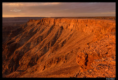 Last light of the day on Fish river canyon (Dan Wiklund) Tags: africa evening canyon rim namibia goldenhour d800 fishrivercanyon southernafrica 2013