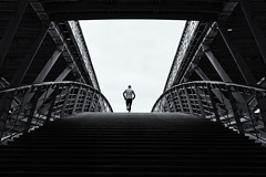 (espinozr) Tags: bridge winter bw paris france backlight europe fav50 geometry running jogging 2014 fav10 fav25 fav100 humaningeometry