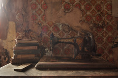 Without a stitch (Sshhhh...) Tags: old light wallpaper stitch sewing machine sew cobweb needle dust mend darn sshhh fashioned