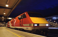 91105 York 03/03/2015 (Flash_3939) Tags: new york uk station electric night train dark march dusk yorkshire rail railway virgin locomotive virgintrains livery eastcoastmainline 2015 ecml 91105 class91 82200 bn20 virgintrainseastcoast