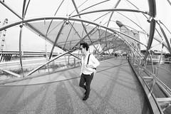 Netting (ah.b|ack) Tags: street bridge bw marina ed bay singapore sony fisheye helix 12mm sands netting f28 ncs a7ii samyang as a7mk2 samyang12mmf28asncsfisheye