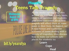 My friend @itsmemolleeb and I do a Twitter YA Lit book club. We pick a theme, you pick the books you read, and we chat on Twitter once a month. If you're interested, our #YearofYA Aug theme is Teens Talk Tragedy, Join us in reading this month. We'll chat (PTank Media Center) Tags: my friend itsmemolleeb i do twitter ya lit book club we pick theme you books read chat once month if youre interested our yearofya aug is teens talk tragedy join us reading this well 824 8pm est more info bitlyyearofya