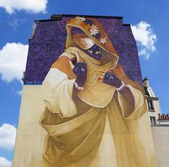 Veiled woman mural - Paris 13th arr (Monceau) Tags: veiled woman mural mysterious painting purple gold boulevardvincentauriol paris 13tharr