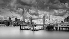 Up The Thames (Jarrad.) Tags: architectural bw blackwhite d800e doubleexposure hitechfirecrest jaymarksimages landmark landscape mono monochrome morelondon nikon royalnavy shard thamesriver towerbridge