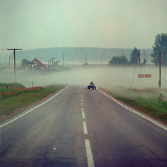 (Anton Novoselov) Tags: lomography cn 100 russia morning fog river road perspective air film hasselblad sonnar 250 mm 500 120 66 6x6 square village temnovka   outdoor
