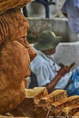 Creator and Creation (Priscila de Cssia) Tags: artist art statue sculptor sculpture hdr grain grainy man wood craftwork culture brazil face texture contrast nikond60 nikon