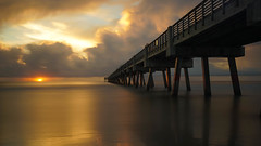 Serenity. (+Lonnie & Lou+) Tags: ocean longexposure morning travel blue sunset summer sky orange usa sun beach nature water clouds sunrise pier sand florida sony july calm jacksonville nisi tennant a7r