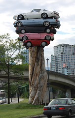 Trans Am Totem, Vancouver (Steve W Lee) Tags: cars transamtotem totem totempole vancouver britishcolumbia canada canadasculpture bmw hondacivic vw volkswagen cabriolet transam statue publicart canadaart