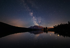 Milky Way over Mt Rundle (Saptashaw Chakraborty) Tags: canada alberta canon 6d rokinon 1428 summer twojacklake towjack lake reflection reflections mountain mountrundle mtrundle banff banffnationalpark rockies canadianrockies landscape nightscape night stars milkyway
