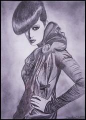 Drwaing - Zeichnung (Lala89_Photos) Tags: zeichnung drawing blackandwhite schwarzweis bild picture woman frau portrait