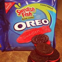 Swedish Fish Oreos ! (steamboatwillie33) Tags: food cookies oreos swedishfish flavors red dessert snack kitchen different 2016