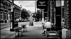 East 5th Interlude (alhawley) Tags: 2016 american bw blackandwhite candid monochrome photodocumentary photojournalism ricoh ricohgrii silverefex street streetphotography