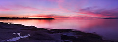 Vancouver Island Sunset (Patrick Lundgren) Tags: vancouver island sunset parksville bc british columbia canada pnw pacific northwest coast mountains beautiful water ocean strait georgia reflection long exposure colour pink orange purple blue afterglow sea canon sigma 1750 60d nd filter sky clouds night nature outside panorama rocks trees beach