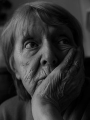 Thinking about ... (Niaic) Tags: portrait age old elderly senior family gran grandmother grandma thinking thoughtful thought thoughts wonder wondering pensive monochrome blackandwhite woman female wrinkle wrinkles mind think hand face propped up lx100 panasonic troubled restless faceinhands worry worried anxious anxiety love concern concerned deliberate conscience why pensioner oap home shelter safety security care