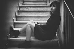 staircase portrait (marco monetti) Tags: nikond610nikonafs85mmf18g blackandwhite bw biancoenero portrait ritratto staircase scalinata beautifulgirl prettygirl bellaragazza shadows ombre interiors interni marble marmo