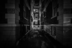 Dead End (llabe) Tags: lowkey deadend alley architecture building night nightlights blackandwhite monotone city urban tacoma washington nikon d750