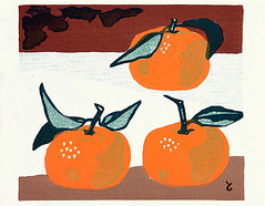 Orange (Japanese Flower and Bird Art) Tags: flower orange citrus rutaceae tomoo inagaki modern woodblock print japan japanese art readercollection