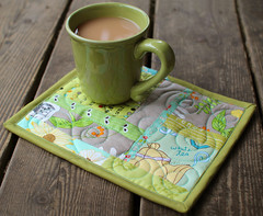Scrappy Green Mug Rug (PatchworkPottery) Tags: mug rug mugrug quilt quilting quilted scrap patchwork coaster potholder sewing fabric handmade crafts